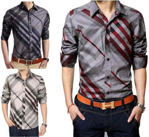 99eef54b92e New Men s Luxury Casual Slim Fit Stylish Stripes Dress Shirts Mens ...