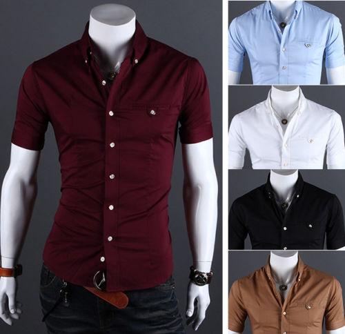 fb18d58a67c SD35 New Mens Fashion Casual Luxury Dress Slim Fit Short Sleeves ...