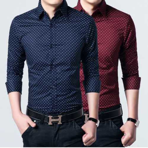 124450c62cd New Fashion Mens Luxury Casual Slim Fit Dot Shirts US XS-XXL Long Sleeve  Shirts Dress Shirts Slim Fit Online with  19.15 Piece on Kellymart s Store  ...