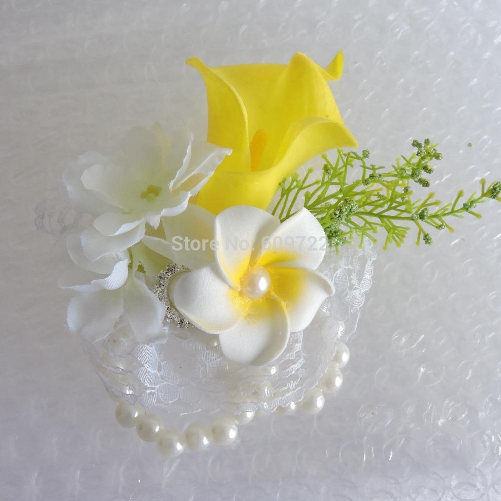 2019 Pu Artificial Calla Lily Frangipani Bride Boutonniere Pearl