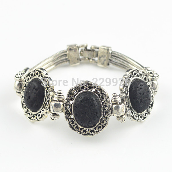 Wholesale Old Flower Plates - B127S Lava Rock Volcano Flower Bracelet 1PC(Stone,not plastic or resin)Vintage Look Antique Sivler Plated Stone Old Looking