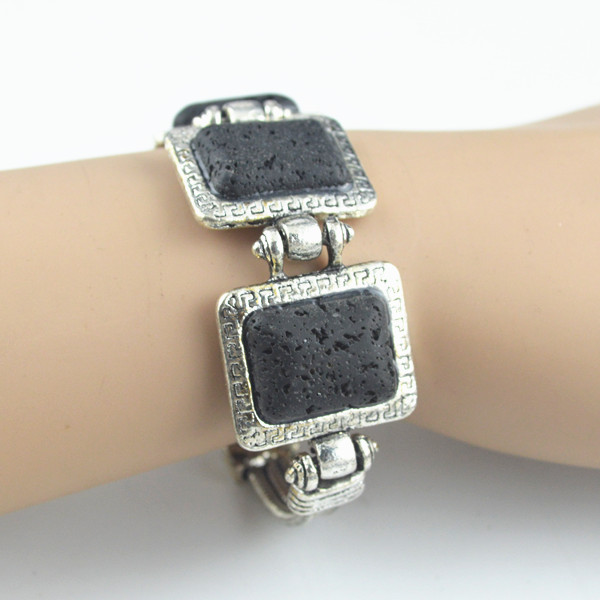 Wholesale Vintage Mexican Silver Bracelets - B23M Natural Square Oblong Longevity Lava Rock Volcano Stone Bracelet 1PC Vintage Look Antique Silver Plated Old Looking