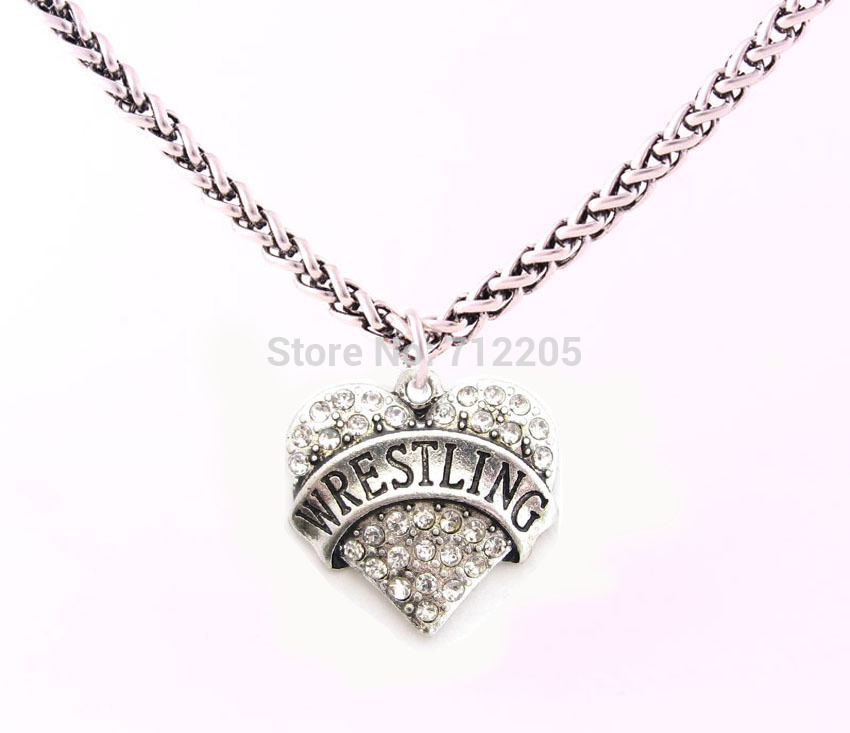 New Arrival Free shipping 10pcs Lobster Claw Wheat Link Necklace Chain with Large Clasp with crystal WRESTLING heart necklace