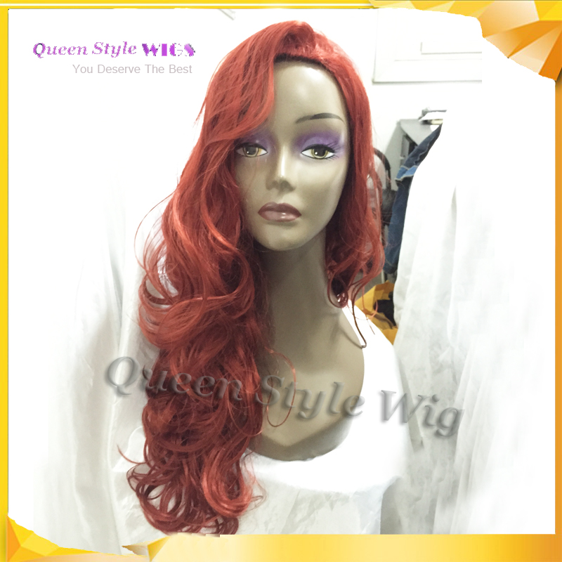jessica rabbit natural cosplay wig copper red hair long wavy volume hairstyle wig halloween costume wig adult costumes wigs - Red Wigs For Halloween