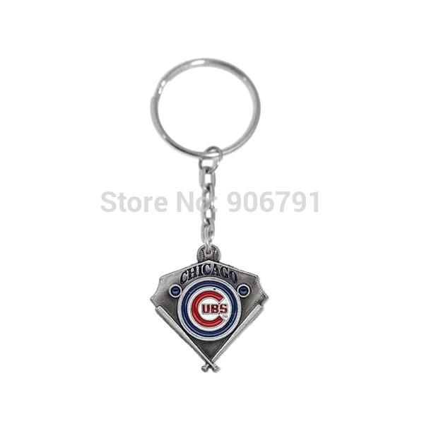 Wholesale Enamel Key Charm - New Novelty 50pcs a lot Metal Enamel team logo charms Chicago Cubs keychain for the keys