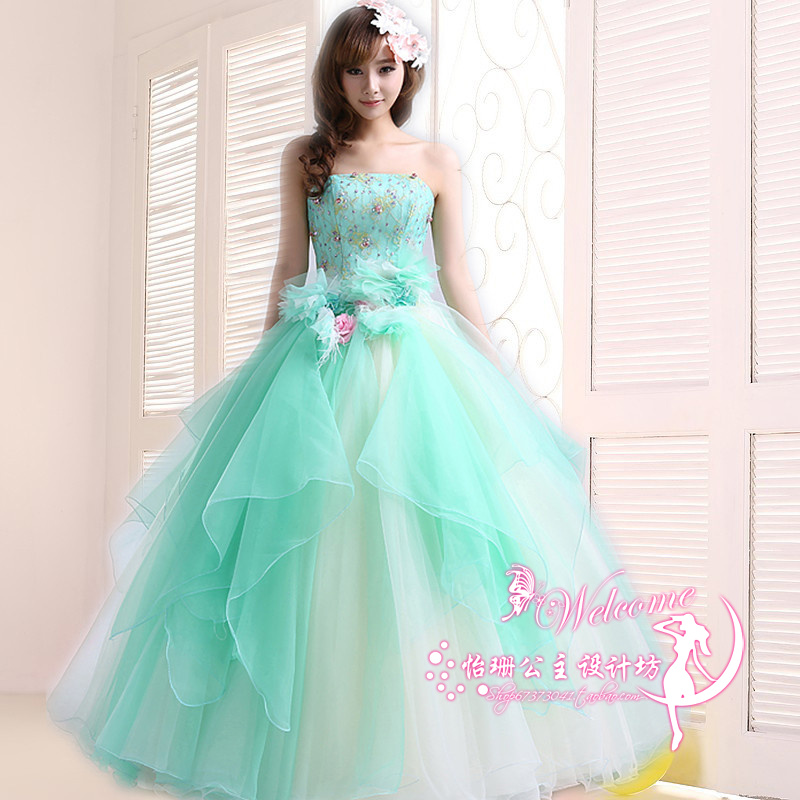 Wholesale Real Fairy Photos - Quinceanera Dresses 2016 New Light Green Lace Flower Strapless Long Ball Gown Plus Size Performance Fairy Tale Dress Banquet Catwalk Dress