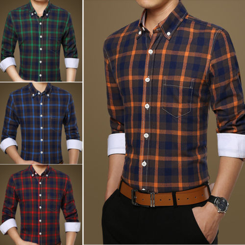 fa7fb457cf9 ST288 New Fashion Mens Luxury Casual Slim Fit Plaids Shirts US XS-XXL Mens  Shirts Long Sleeves Online with  20.35 Piece on Kellymart s Store