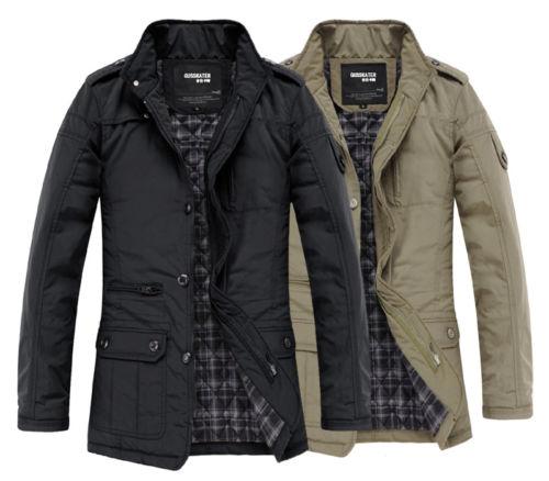 sehun kris luhan al por mayor-Nueva moda de invierno para hombre calientes ocasional delgada Outwear las capas chaquetas Negro / caqui