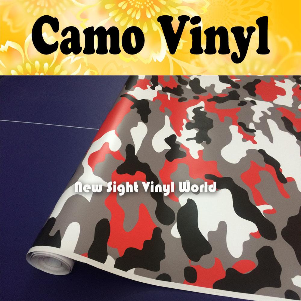 Elite Red Camouflage Car Vinile Wrap Film Nero Rosso Camo Film Foglio Bubble Free Veicolo Wrap