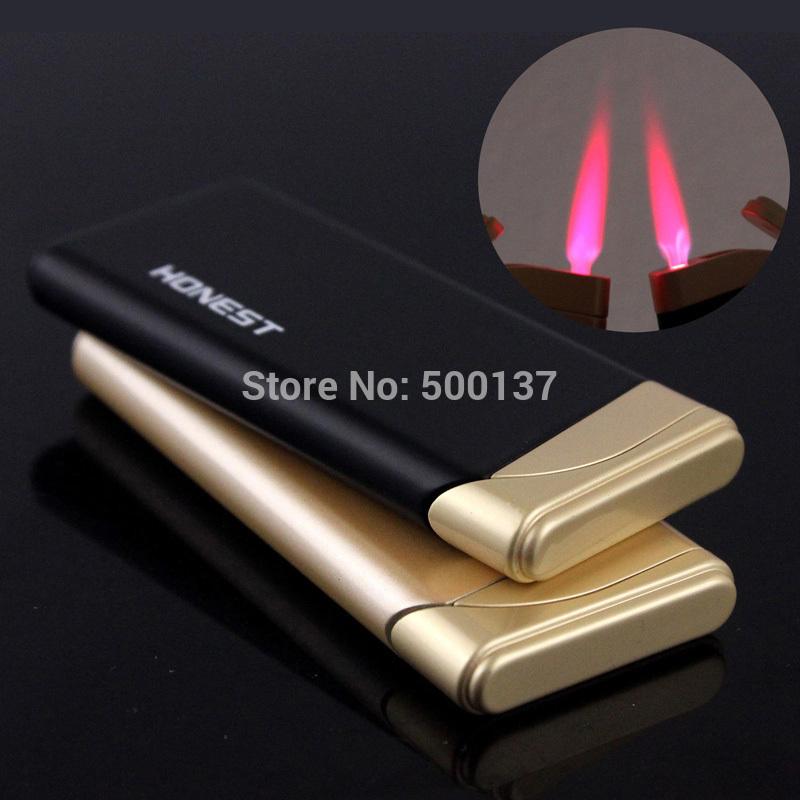 Wholesale Thin Butane Lighter - Honest Ultra Thin Hot Pink Flame Butane Gas Cigarette Cigar Lighter Windproof Lighter
