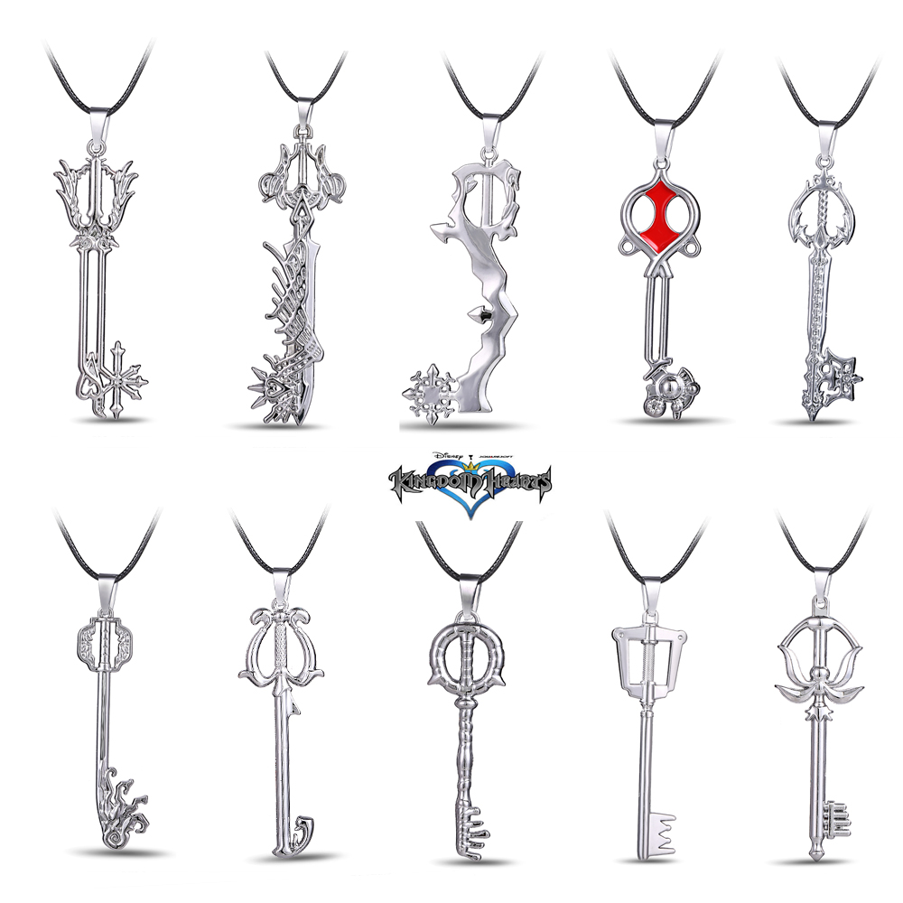 Wholesale Kingdom Hearts Keyblade Wholesaler - MOSU Hot Game Kingdom Hearts Metal Necklace Keyblade Pendant Cosplay Accessories Jewelry Christmas Gift can Drop-shipping