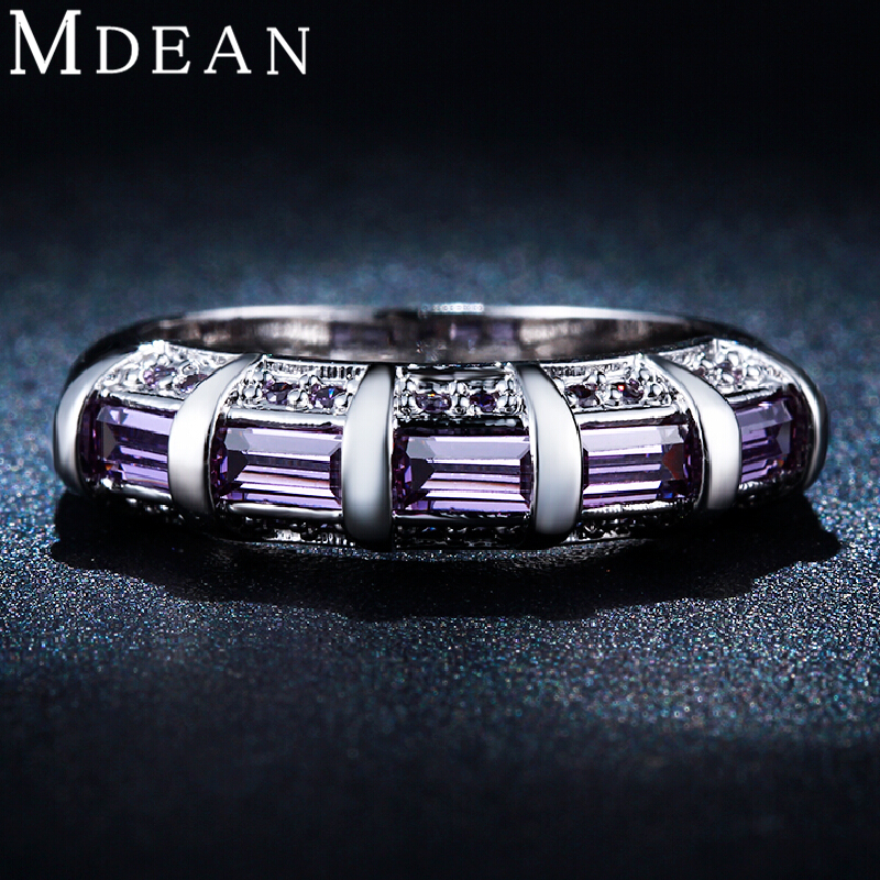 MDEAN White gold plated Purple Amethyst Jewelry AAA Zircon CZ Diamond Engagement Bijoux Wedding Rings for women MSR244
