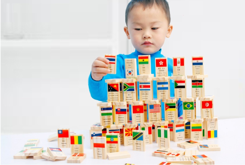 100 PCS National flag Dominoes early childhood educational t...