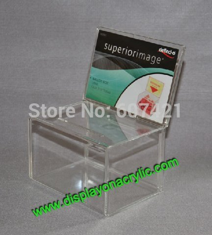 Wholesale Pack units Countertop Clear Acrylic Charity Donation Container Money Collection Box For Donation Ballot Raffle Without lock YDB005