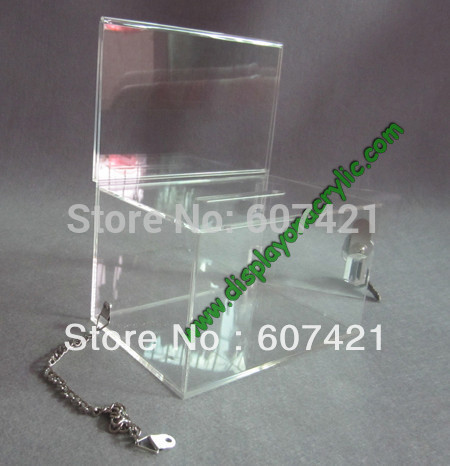 Wholesale Wholesale High Profit - (Pack 10units) High Quality Clear Premium Acrylic Donation Collection Boxes With Chain for charity,church,non-profit group YDB-002