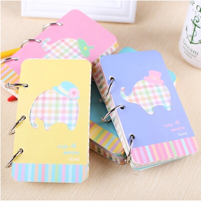 Kawaii Howllowed Out Blocco note a spirale coreano stazionario Elephant spirale rigida Quaderno interno Pagina Candy Colore Notebook Seolaire