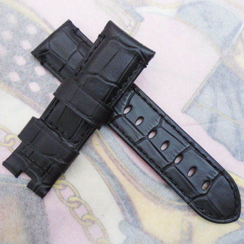 24 mm 115/75mm luxury Black Calf Leather Bands Strap & PAM LOGO For Butterfly Buckle Wristwatch