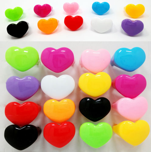 2017 New Free Shipping Wholesale 100pcs Lots Multi Heart Candy Color fashion jewelry Resin Lucite Chunky womens Rings