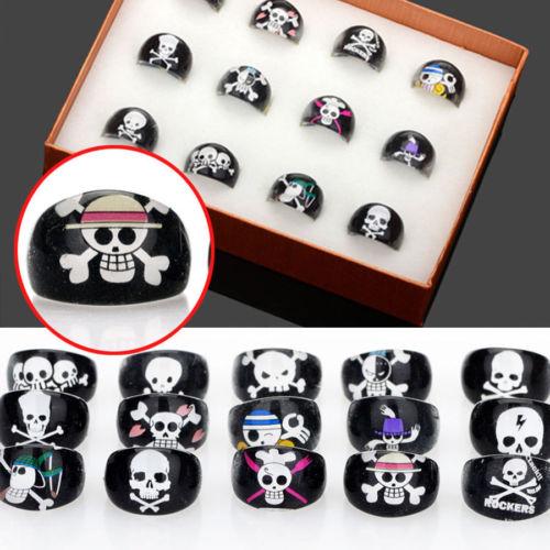 Wholesale skull plastic resin - Wholesale Mixed Lots 100Pcs Cute Skull Children Kids Resin Lucite Rings Freepost