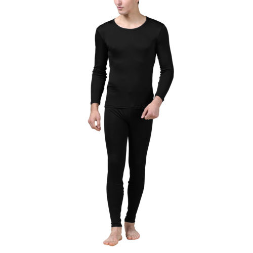 Сохранение тепла в чистый шелк Джерси вязать мужчин круглый вырез длинные Джонс установить размер L XL XXL
