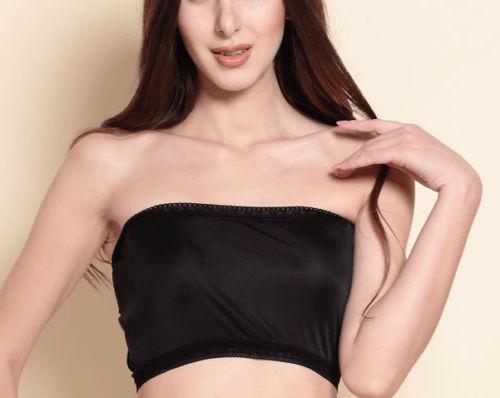 100% Pure Silk Knit Bandeau Top Women's Lace Long Tube Strapless Top Size M L XL