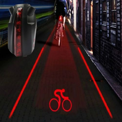 Wholesale Intelligent Bike Laser - Bike Bicycle Intelligent Laser 5 LED Rear Light Cycling Tail Light A-Type