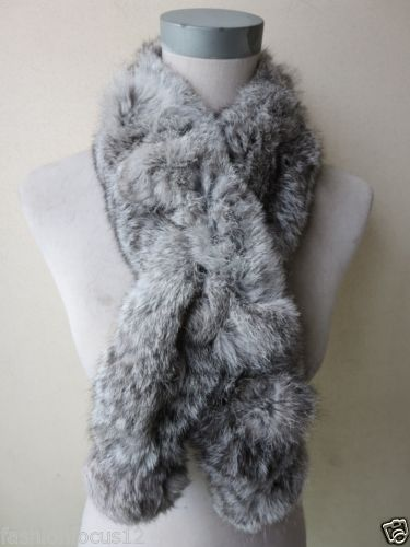 Wholesale/retail Women's fashion real Whole rabbit fur handmade scarf/ natural gray