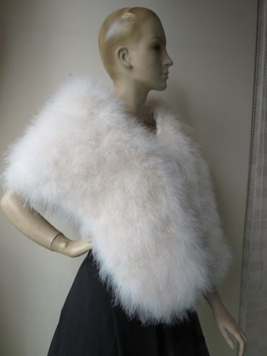 Women's fashion real ostrich feather fur cape wrap wedding dress Ivory