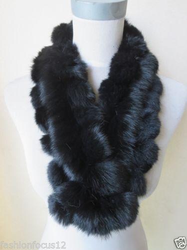 Mode féminine en gros / au détail dernier style véritable écharpe de fourrure de lapin à la main / noir