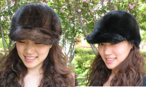 women' s fashion real mink fur handmade cap  hat black  ...