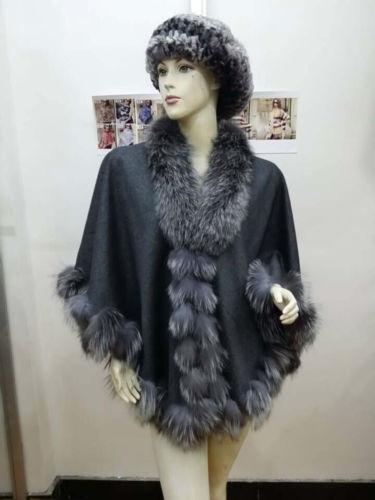 Opulent color Real Fox Fur pashm Cloak poncho Cape/Coat/Wrap