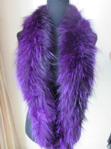 Latest style Elegant Soft Real fox fur knitted long neckerchief /scarf purple