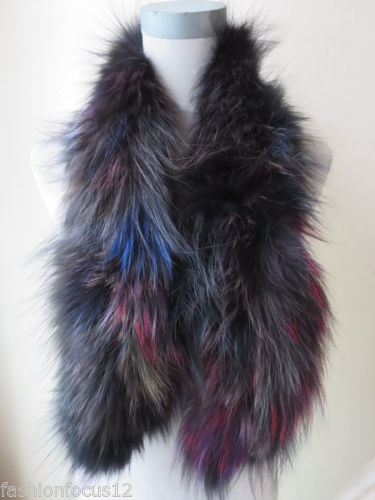Wholesale/retail fashion Bright Colorful fun Real best Silver Fox fur knitted scarf/multicolored