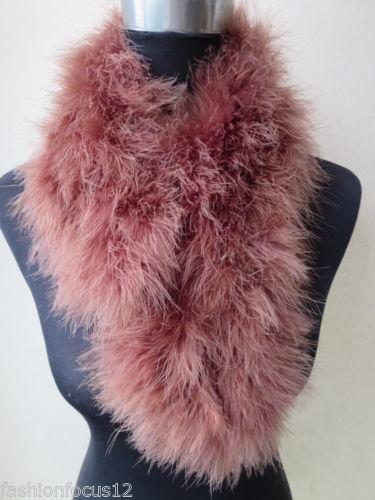 Новый оптовая / розничная женская реального страуса перо меховой шарф / темно-коричневый от