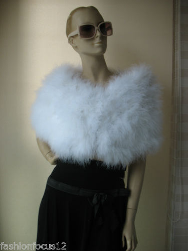 Brand new real ostrich feather fur cape wedding Accessories  white