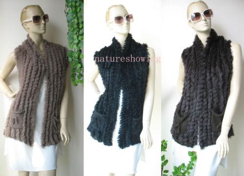 chaleco de piel de punto negro al por mayor-chaleco de punto / chaleco de color sólido de piel de conejo / marrón / negro