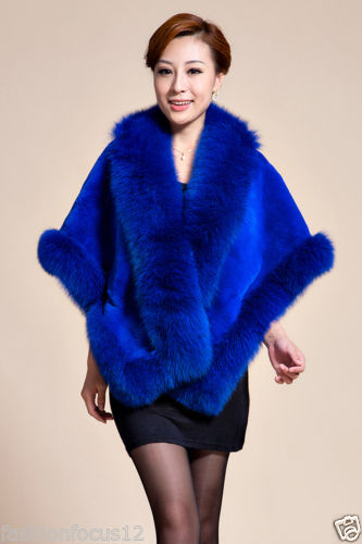 Fashion elegant lady best Rex rabbit fox fur shawl/coat/cape blue