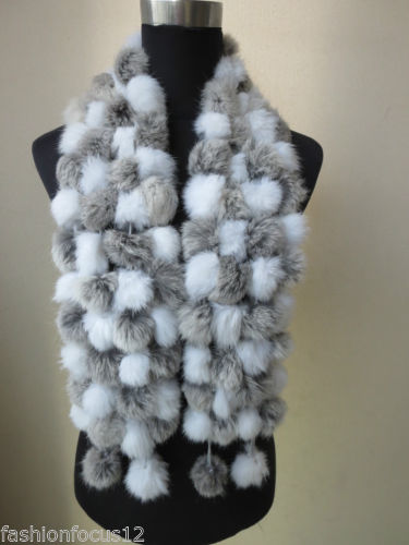 Wholesale/retail Women's fashion real rabbit fur handmade 108 balls scarf / cape white with gray