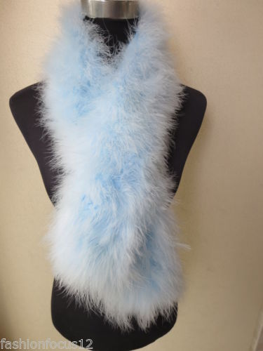 Wholesale/retail Women's fashion real ostrich feather fur scarf/cape/collar light blue