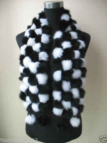Wholesale/retail Women's fashion real rabbit fur handmade 108 balls scarf/collar black with white