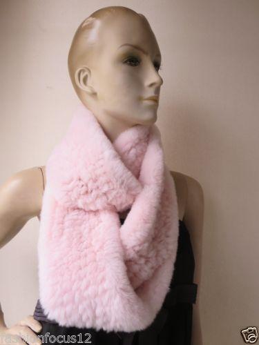 Women's real Rex rabbit fur knitted long neckerchief /scarf pink Winter Warm