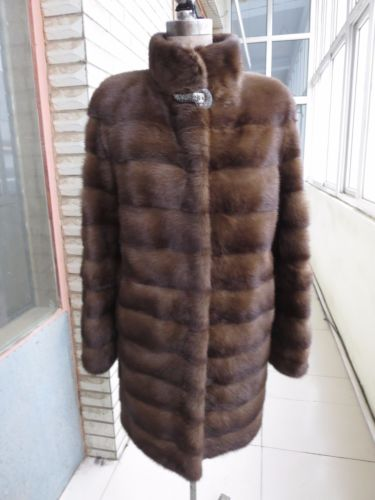 Wholesale Mink Skin Coat - Luxury Warm Lady Slim fit Genuine whole skin Minks Fur Long Coat Jacket brown