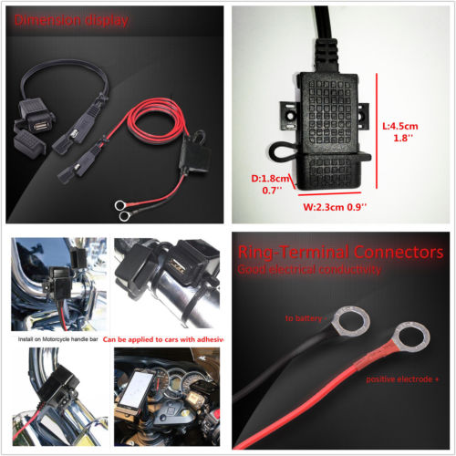 Wholesale Connector Motorcycle - Motorcycle USB charger Adapter Connector 12V Cable Adapter Extension Wire Fuse Output 5V 2.1A max