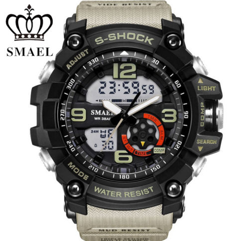 Wholesale Hand Digital - SMAEL Mens' Sport Dual Day Date Display Luminous Hands Calendar Timer Wristwatch