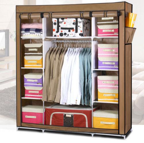 new portable folding closet wardrobe clothes garment rack storage heavy duty hot