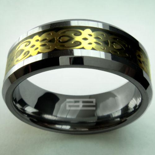 Mens 18K Gelbgold gefüllt Wolfram Ring R88 Größe U