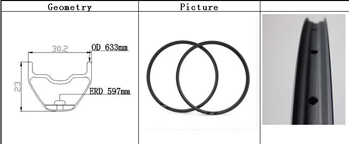New super strong carbon 29 inch mtb hookless rim carbon fiber 29er MTB wheel 30.2 mm width