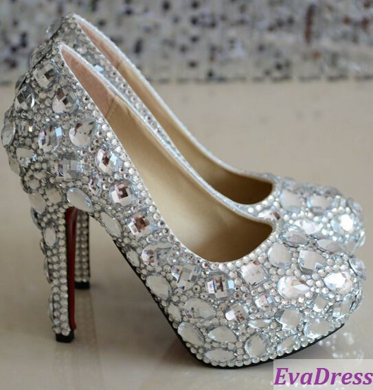 Free Shipping Prom High Heel Pumps Rhinestone New Arrival Vintage Causal 5