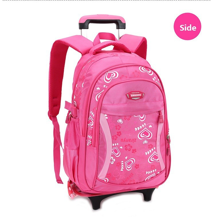 Children Trolley School Bag Women Backpack Wheeled School Bag For ...