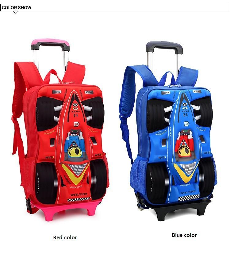 Children Trolley School Bag Children'S Cartoon Car Stereo Rod ...